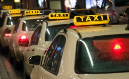 Taxis waiting at the airport