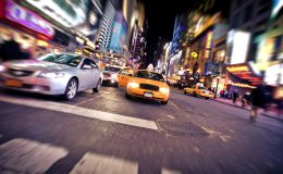 NEW YORK – JANUARY 6: Blurred image of yellow taxi cab on Januar