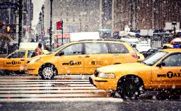 NEW-YORK – JANUARY 7: Taxi Cabs cautiously maneuvering through a